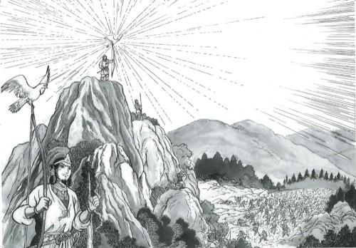 ◆宿敵との戦いで金鵄(きんし:金色のとび)によって神武天皇に勝利がもたらされる場面
